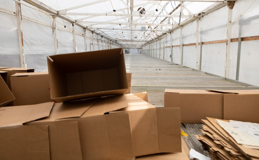 An empty greenhouse at Fox Point Farms in Encinitas is shown on July 13, 2021. Operators at the farm are moving the cultivation of both flowers and hemp to new locations.