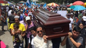 Guatemalan citizens carry an empty coffin in front of Guatemala's National Palace in this undated photo.