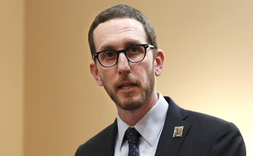 In this Jan. 21, 2020, file photo, state Sen. Scott Wiener, D-San Francisco, speaks at a news conference in Sacramento, Calif.