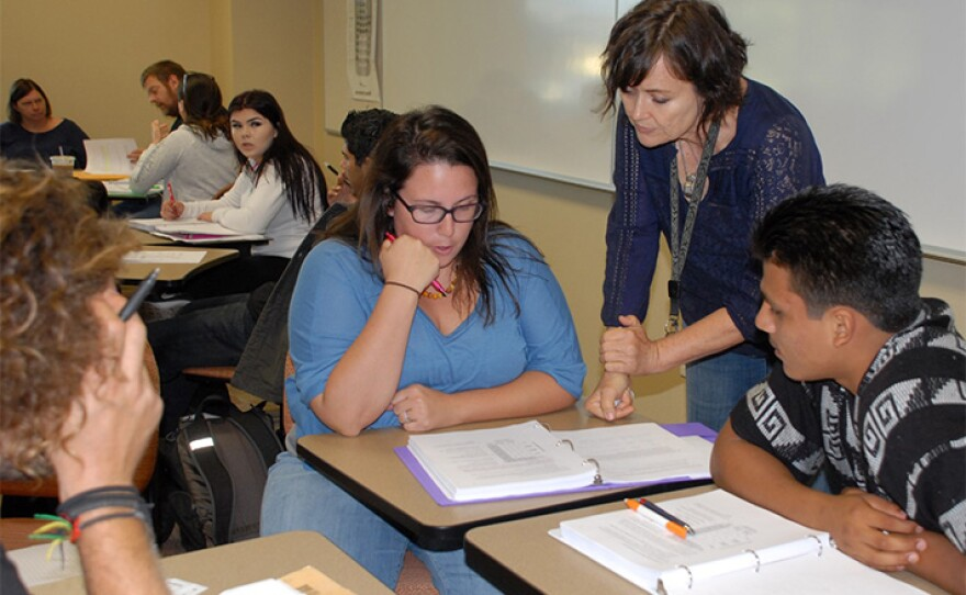 Cuyamaca College math teacher Terrie Nichols helps students in this undated photo.