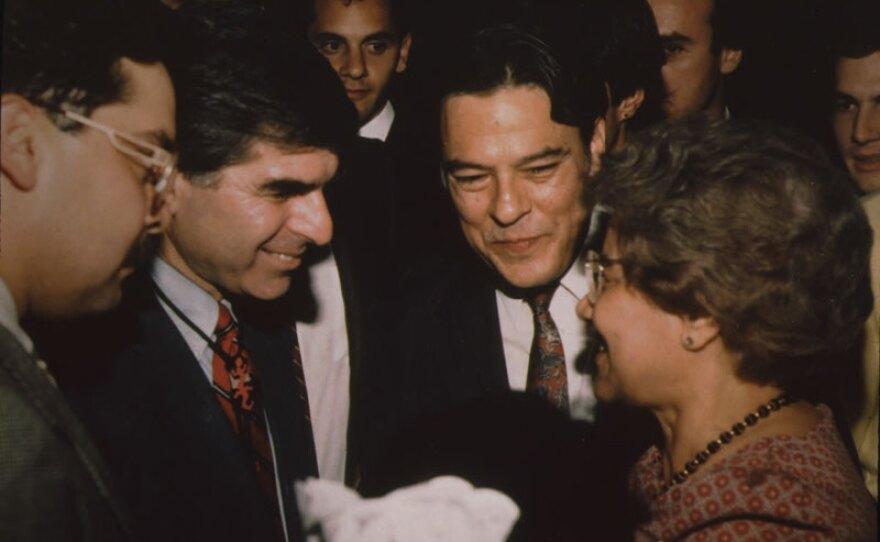 Willie Velasquez with Michael Dukakis at an event in San Antonio, Texas, circa 1980s.