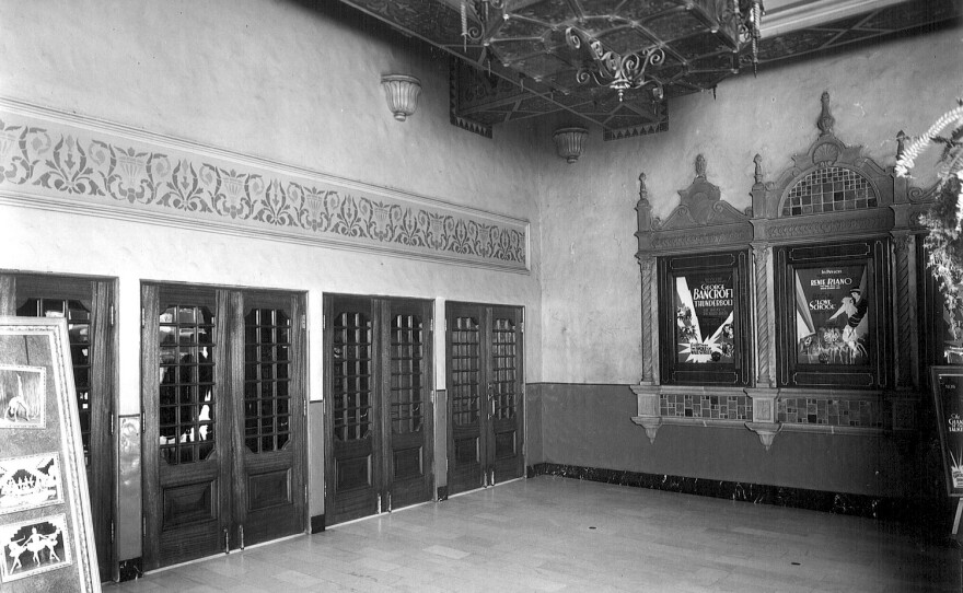 """The entrance to the California Theatre in 1929. The movie theater was called """"the cathedral of the motion picture."""""""
