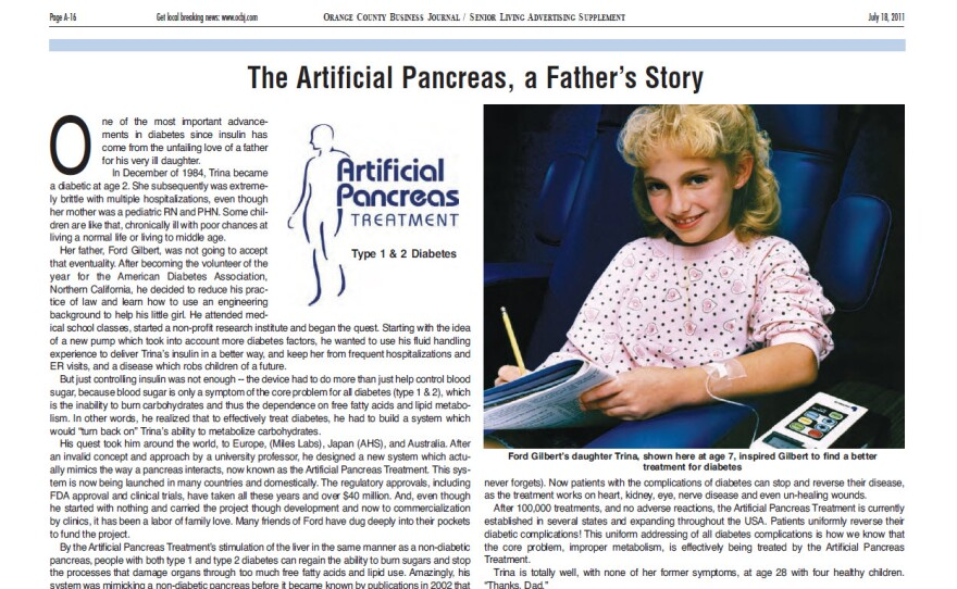 """A story in the Orange County Business Journal on July 18, 2011, features Ford Gilbert's daughter, Trina, and the """"Artificial Pancreas Treatment"""" his company offers."""
