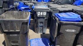 Damaged trash and recycling bins at the Miramar Landfill, Sept. 12, 2019.
