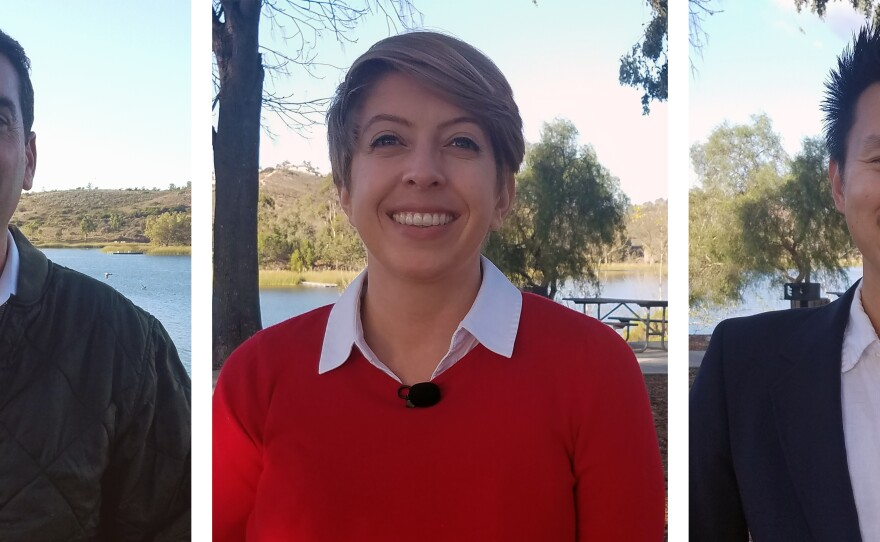 Candidates for San Diego City Council District 5, left to right, Joe Leventhal, Marni von Wilpert and Isaac Wang speak at Lake Miramar, Dec. 9, 2019.