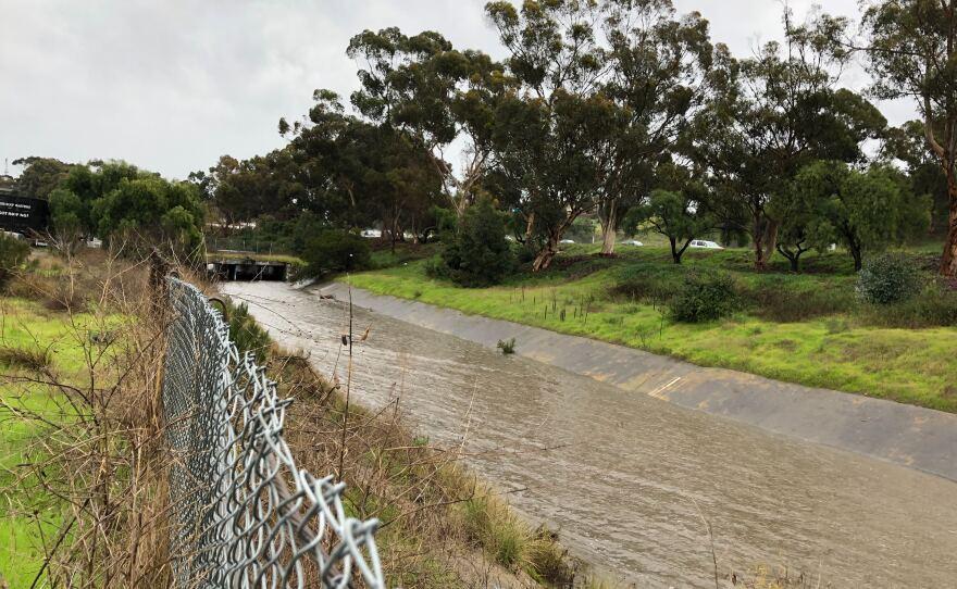 Water flowed through Chollas Creek after heavy rainfall, Dec. 23, 2019.