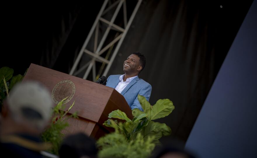 Gentry Patrick speaks in front of thousands of incoming UC San Diego students at the 2019 convocation.