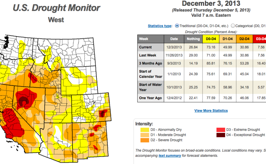The U.S. Drought Monitor map issued on Dec. 3, 2013 shows much of San Diego under severe drought conditions.