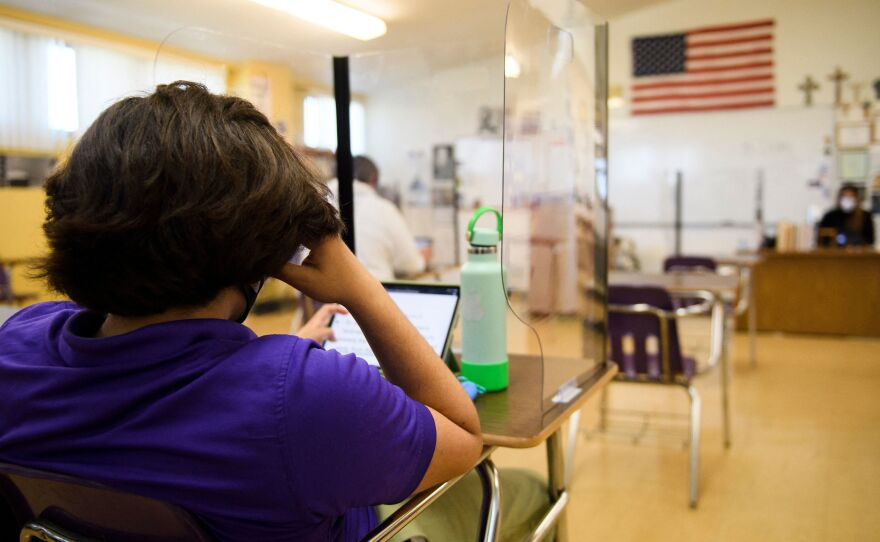 Students returned to in-person learning at St. Anthony Catholic High School this week in Long Beach, Calif. The country is on track to have a majority of schools open in the next two months, but not all kids are going back.