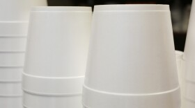 Foam soup containers are stacked in a New York restaurant, Feb. 14, 2013.