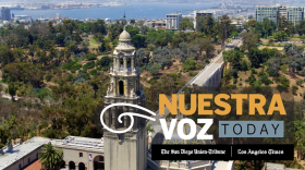 """A screenshot from a broadcast of """"Nuestra Voz Today"""" features the San Diego skyline in this undated photo."""