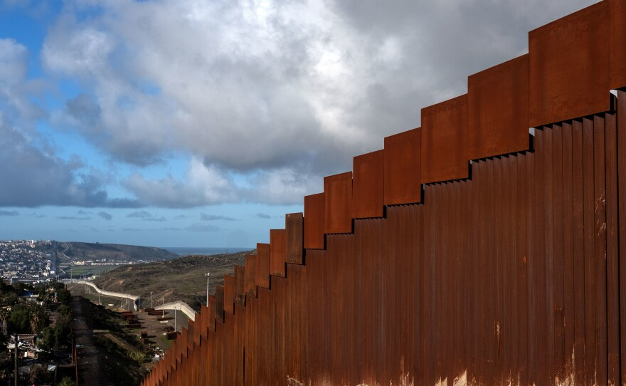 A section of the reinforced U.S.-Mexico border fence as seen from Tijuana, Mexico, on Sunday.