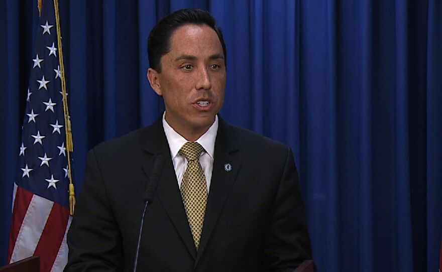 San Diego interim Mayor Todd Gloria speaks to the media at his weekly news conference, on Feb. 20, 2014.