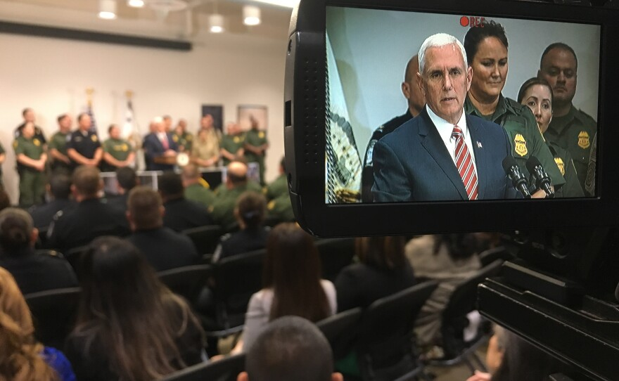 Vice President Mike Pence speaks to Department of Homeland Security and Border Patrol personnel at the El Centro Station, April 30, 2018.