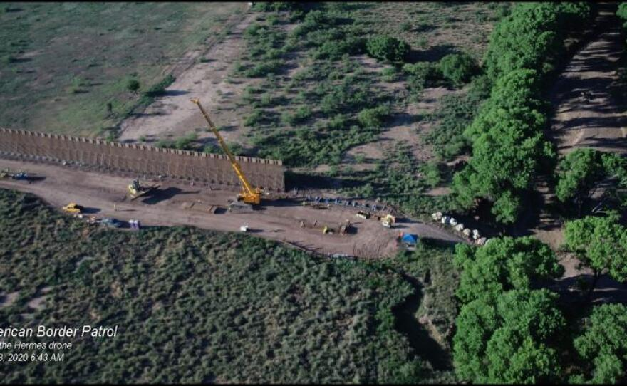 Drone camera image of border wall construction along the San Pedro River in early June, 2020.