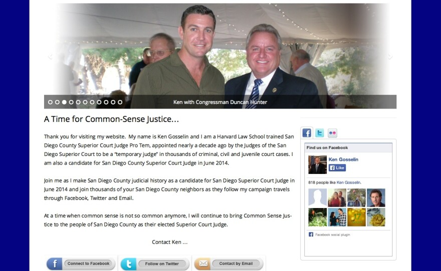"""A screen grab of an earlier version of Ken Gosselin's website. He previously referred to himself as a """"Harvard Law School trained San Diego County Superior Court Judge Pro Tem."""""""