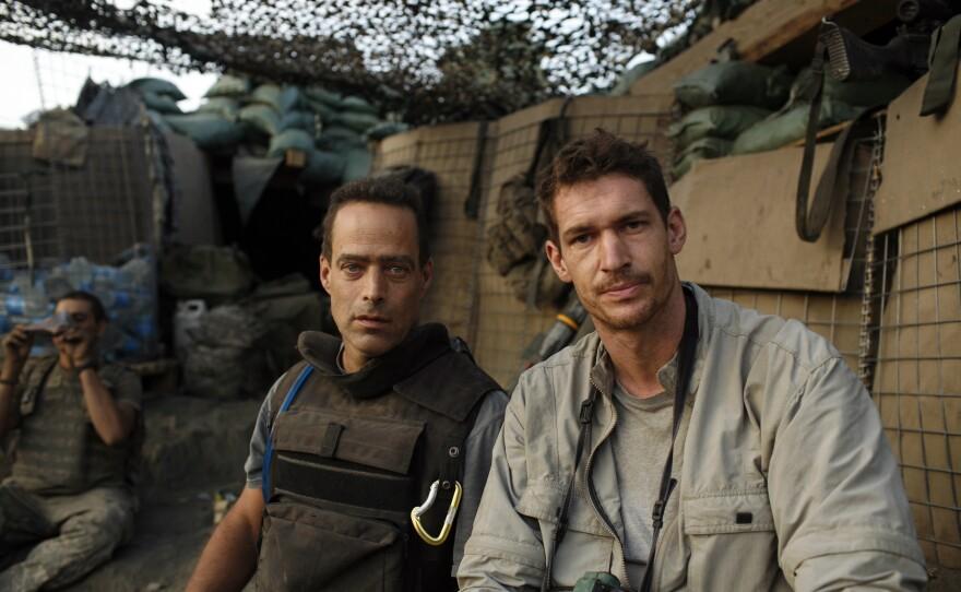 Filmmakers Sebastian Junger and Tim Hetherington at Outpost Restrepo.