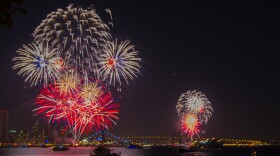 A photo shows 4th of July fireworks in downtown San Diego, July 4, 2017.
