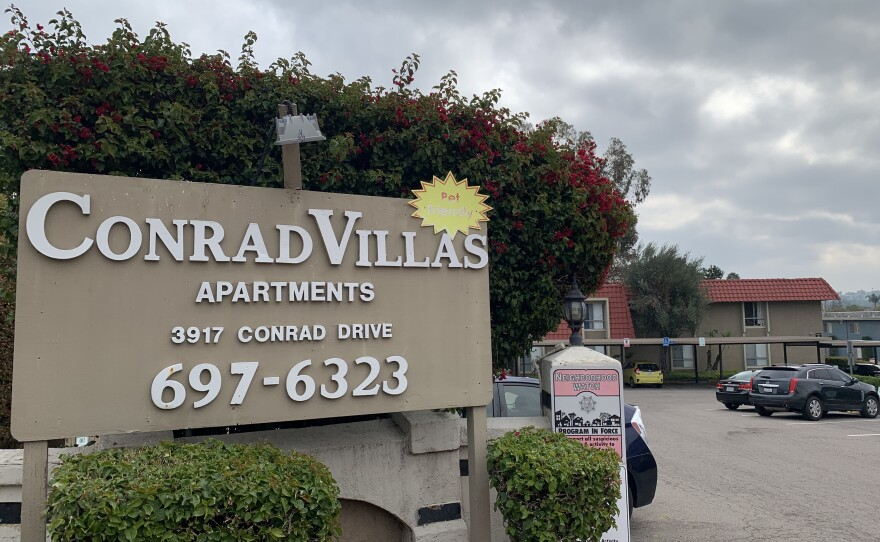 A sign advertising Conrad Villas apartments is seen here on Feb. 9, 2021.