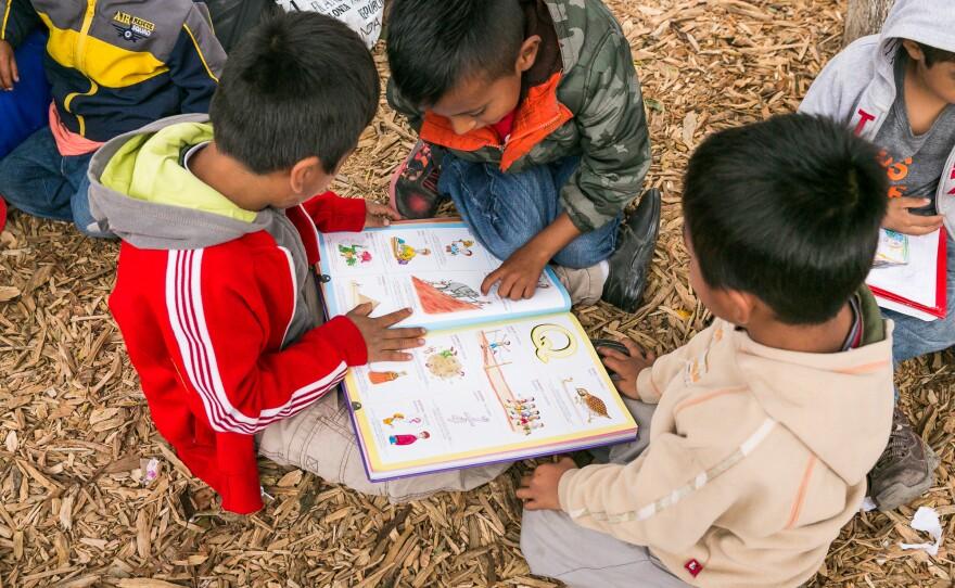 A group of asylum-seeking children read a book while waiting in Tijuana, Oct. 25, 2018.