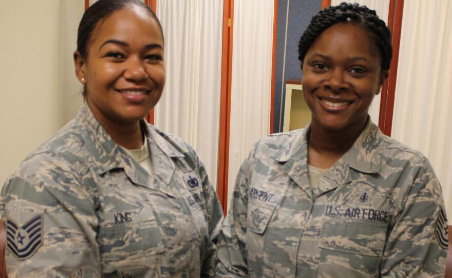 Air Force Tech Sergeants Jesseka King (left) and Ronneisha Sargent, who each experienced challenges nursing their children while on duty at Lackland Air Force Base, are pictured in this undated photo.
