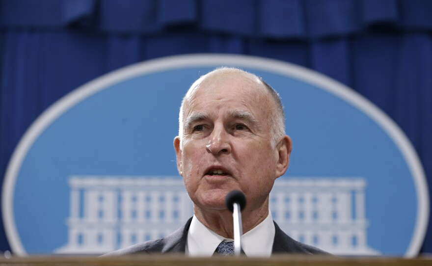 California Gov. Jerry Brown discusses his 2017-2018 state budget plan he released at a news conference in Sacramento, California, Tuesday, Jan. 10, 2017.