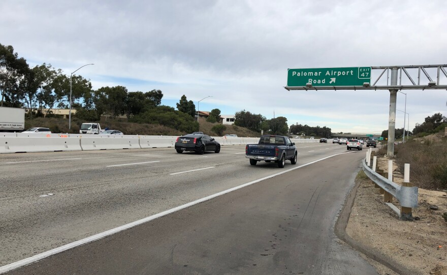 Cars are traveling along Interstate 5 in Palomar on December 18, 2019.