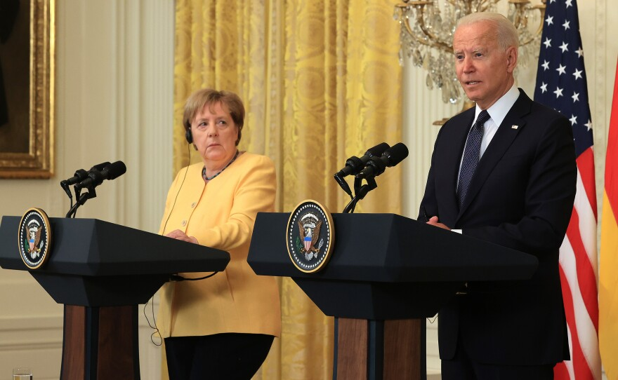German Chancellor Angela Merkel and President Biden hold a joint news conference in the White House Thursday.