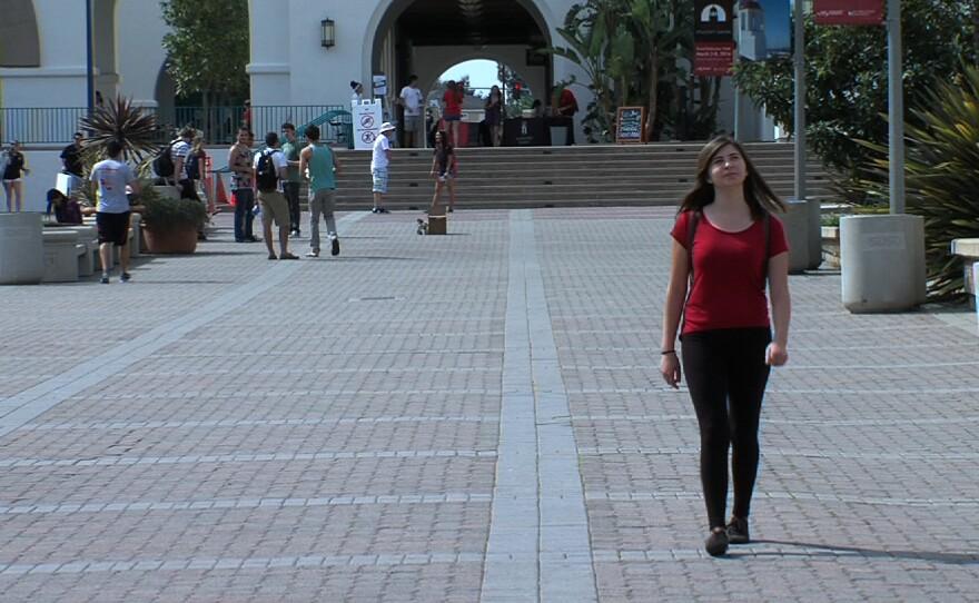 Freshman Hannah Medina walks through campus at San Diego State University.