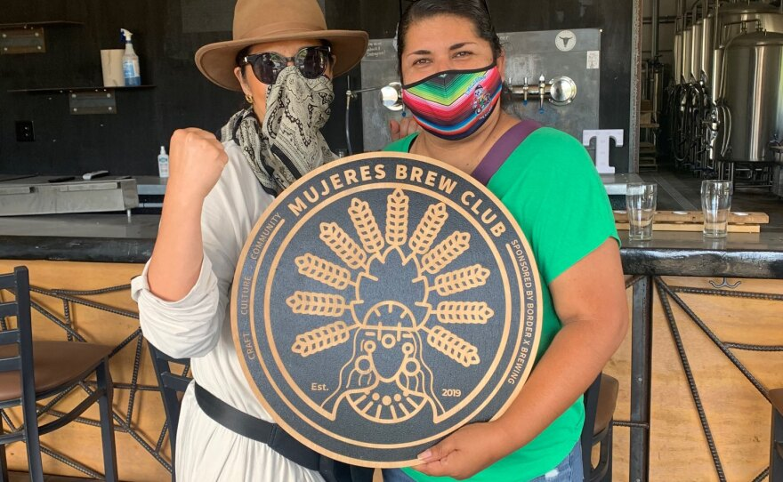 Carmen Favela (left) and Esthela Davila (right) of Mujeres Brewing, an all-woman brewhouse in San Diego's South Bay, on the day they received the keys to their to-be brewhouse, June 16, 2020.