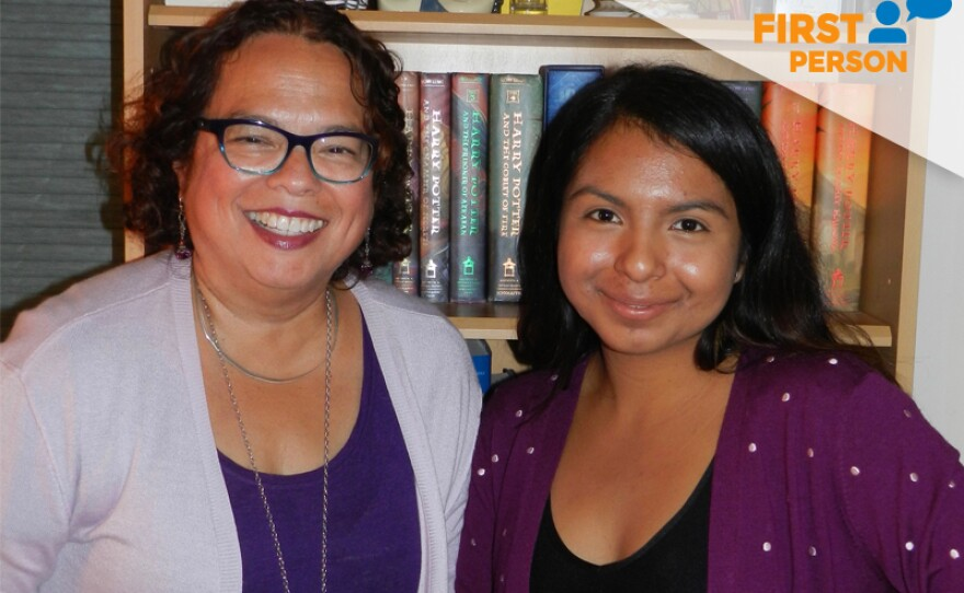 Monica Medina, the director of diversity, engagement and grants at KPBS and Paulina Olveda, a student at the University of California, Davis are pictured in this undated photo. They reconnected this year when Olveda graduated from high school and sent Medina a letter thanking her for helping her to achieve her dreams.
