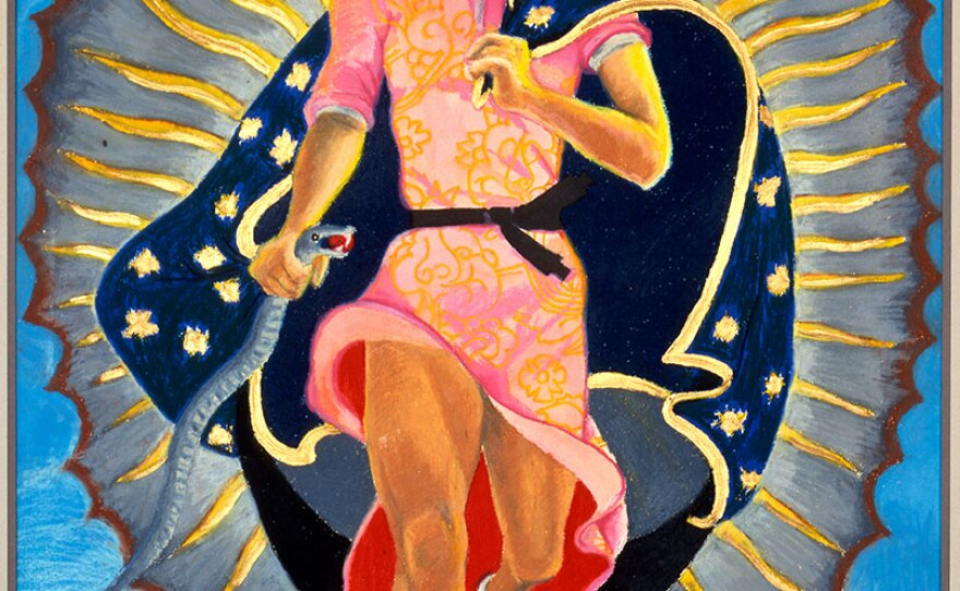 """Yolanda López's """"Portrait of the Artist as the Virgin of Guadalupe,"""" (1978)."""