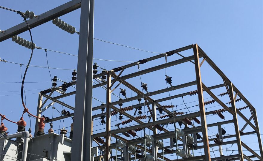 Power lines at an SDG&E facility in North Park are seen here on Sept. 26, 2017.