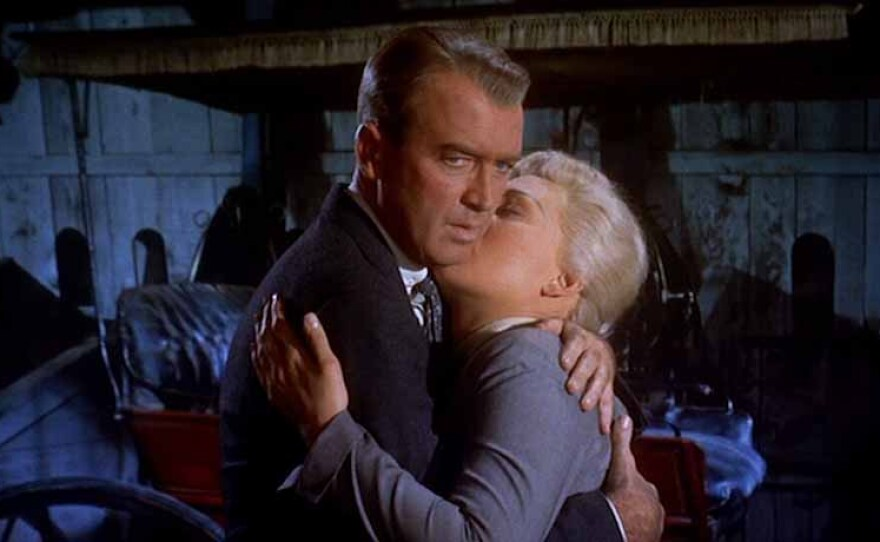 """James Stewart and Kim Novak star in Alfred Hitchcock's """"Vertigo"""" (1958). The film recently knocked """"Citizen Kane"""" off the top slot of Sight and Sound's list of the 50 Greatest Films of All Time."""