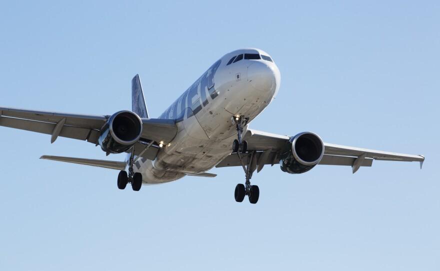 An airplane landing at San Diego International Airport, November, 18, 2016.