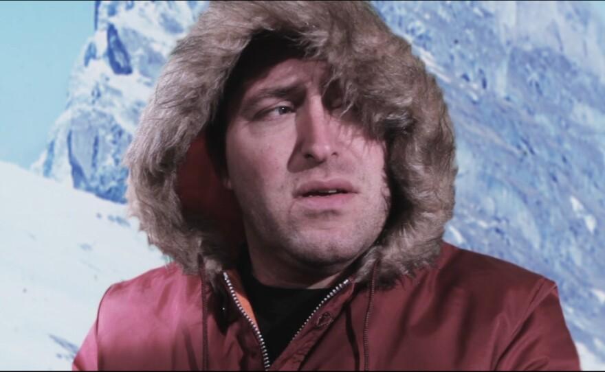 "Matt Hoyt as the character Preston, an Antarctic landfill worker and aspiring novelist in his film ""Antarctic...Huh?"""
