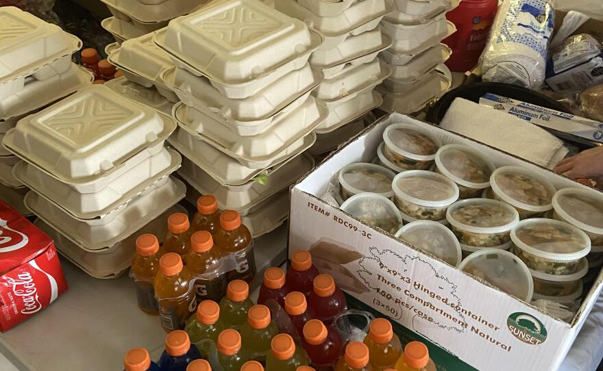 Undated photo of meals for the motel shelter clients at the Oceanside Homeless Resource intake office.