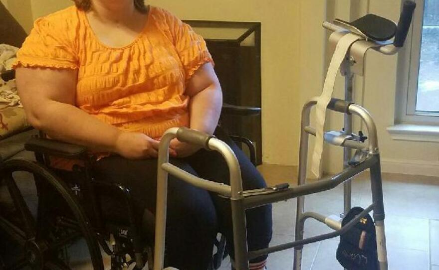Whitney Hardin, who uses a specialized walker to improve her mobility, is pictured in this undated photo.