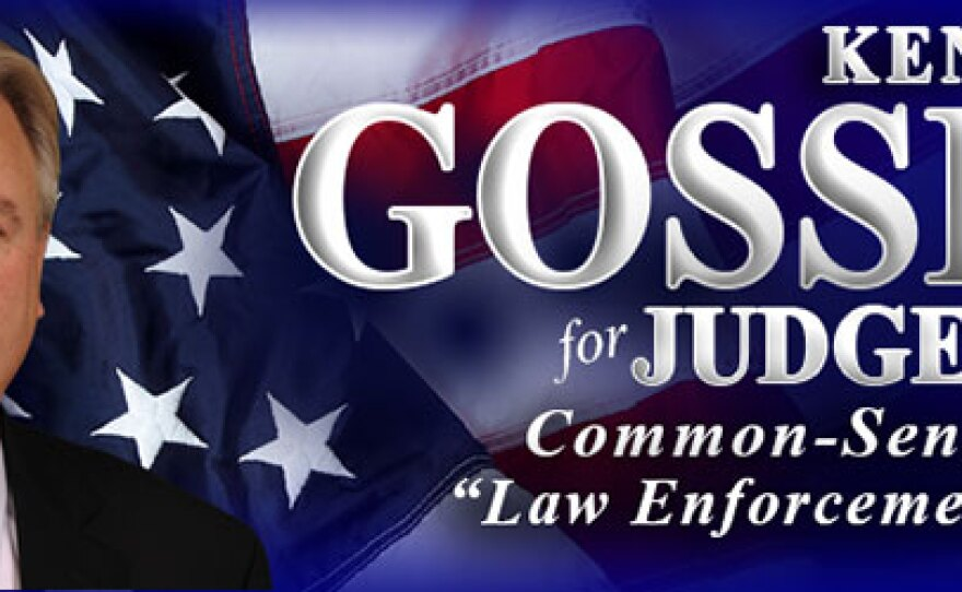 "A screenshot of the header of Ken Gosselin's campaign website. It says ""Ken Gosselin for Judge 2014, Common-Sense Justice, ""Law Enforcement's Choice."""