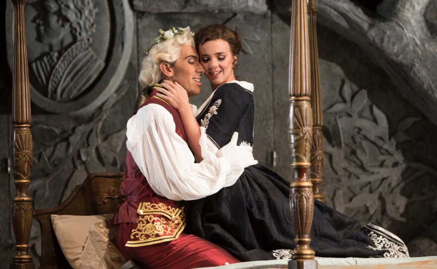 """Bass-baritone Evan Hughes is Figaro and soprano Sarah Shafer is Susanna in San Diego Opera's """"The Marriage of Figaro."""""""