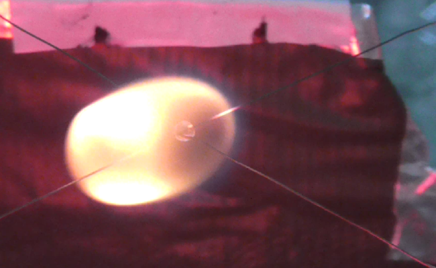 Without gravity to weigh it down, a flame expands and becomes more spherical.