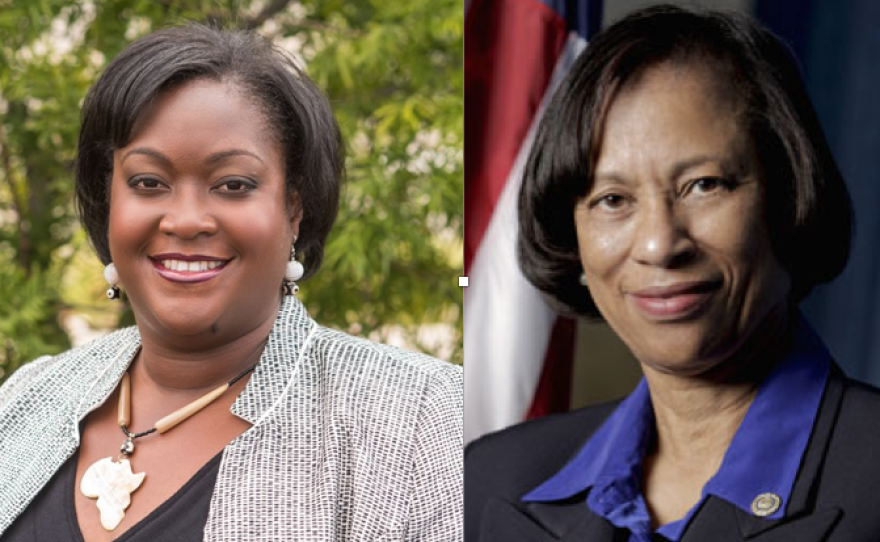 LaShae Collins, left, and Sharon Whitehurst-Payne are vying to represent the San Diego Unified School District in District E, which includes Southeastern San Diego.