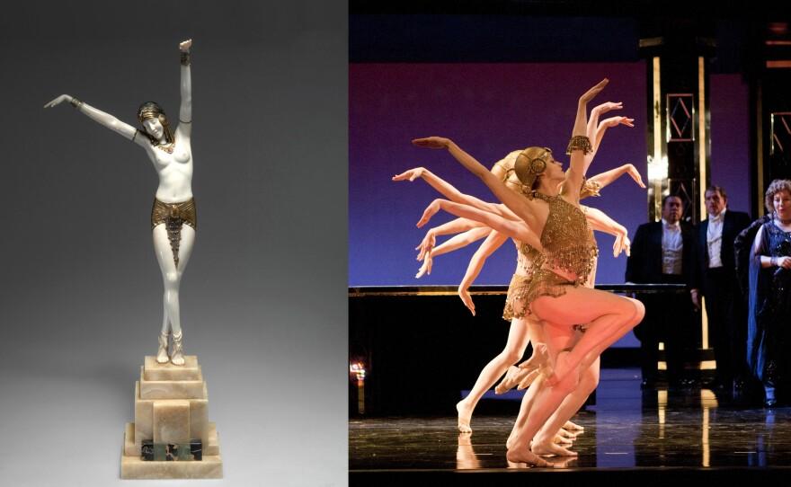 "One of Demètre H. Chiparus's statues compared to the costume design for the dancers in ""La Traviata."""