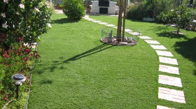 Diane Barnaba installed synthetic grass in the front and backyard of her home in Alpine.