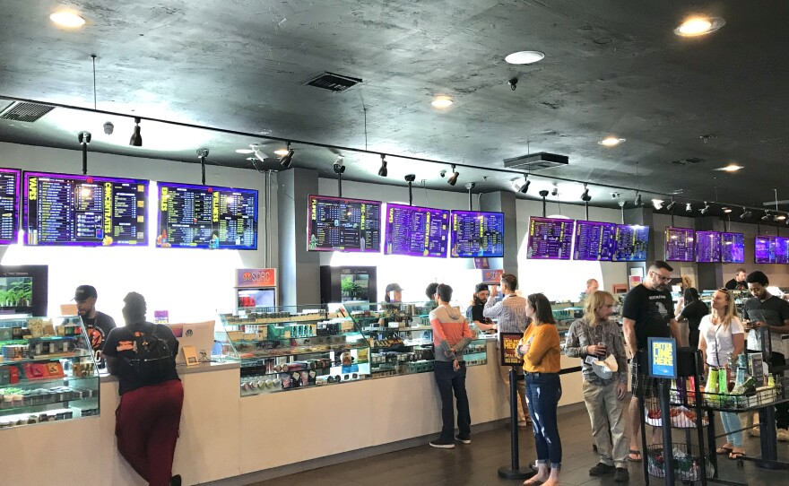 Customers line up at SDRC, one of fewer than 20 licensed cannabis dispensaries in San Diego, Nov. 1, 2019.