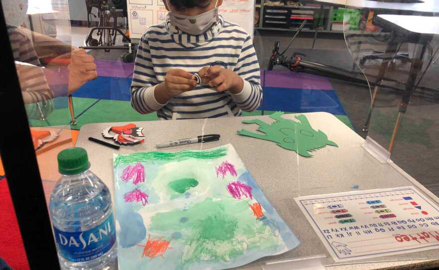 A student at Joseph Casillas Elementary School in Chula Vista works on his art assignment. May 10, 2021