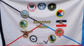 The Kumeyaay Nation flag was raised at National City's City Hall on Oct. 11, 2021.