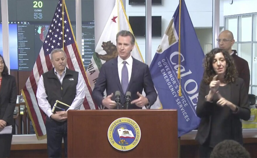 Gov. Gavin Newsom updates the public about California's response to the coronavirus outbreak during a press conference in Sacramento, March 15, 2020.