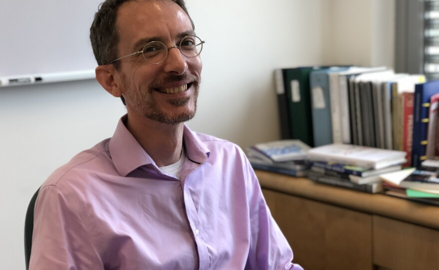 Isaac Martin, chair of the sociology department at UC San Diego, poses for a photo in his office, June 4, 2018.