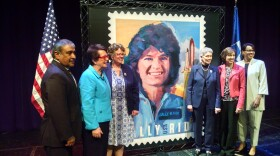 The U.S. Postal Service held a ceremony at UC San Diego where they unveiled a new stamp posthumously honoring NASA astronaut and former UCSD professor Sally Ride, San Diego, May 23, 2018.